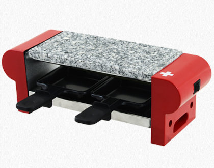 RACLETTE GRILL 2 PERSONS WITH GRANITE STONE RP2 RED